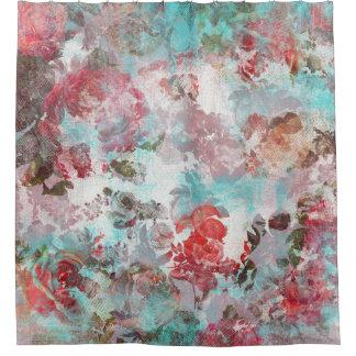Rideaux De Douche Motif turquoise floral rose chic romantique