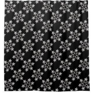 Rideaux De Douche Noël glacial noir et blanc de flocons de neige