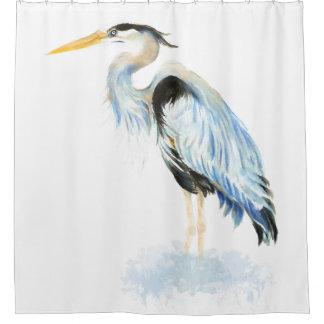 Rideaux De Douche Oiseau de héron de grand bleu d'aquarelle