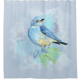 Rideaux De Douche Oiseau de jardin d'oiseau bleu d'aquarelle et de
