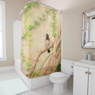 Rideaux De Douche Oiseau tropical de Brown sur l'arbre avec les