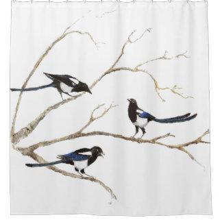 Rideaux De Douche Oiseaux de famille de pie d'aquarelle dans l'arbre