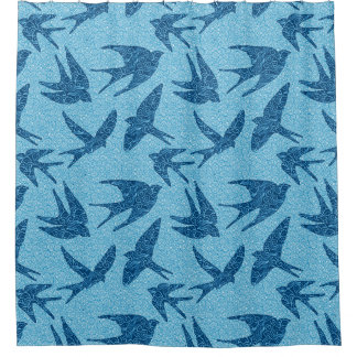 Rideaux De Douche Oiseaux japonais en vol, bleu de cobalt et blanc