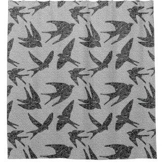 Rideaux De Douche Oiseaux japonais en vol, charbon de bois et