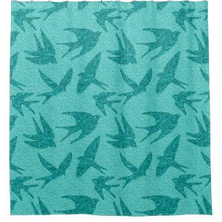 Rideaux De Douche Oiseaux japonais en vol, turquoise et Aqua