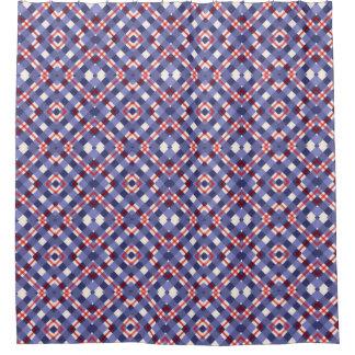 Rideaux De Douche Plaid rouge, blanc et bleu