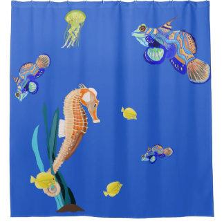 Rideaux De Douche Poissons et hippocampe tropicaux colorés