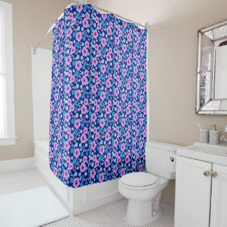 Rideaux De Douche Prune japonaise riche de motif floral bleu et rose