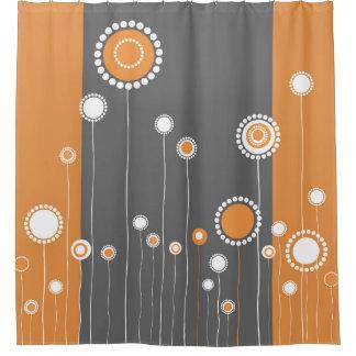 Rideaux De Douche Rétro orange de motif de fleurs