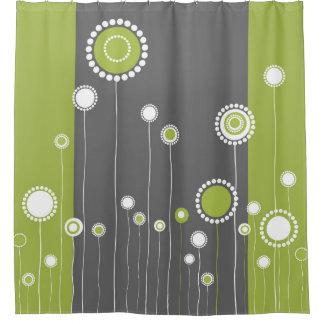 Rideaux De Douche Rétro vert de motif de fleurs