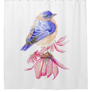 Rideaux De Douche Rose bleu de Coneflower d'oiseau bleu d'aquarelle