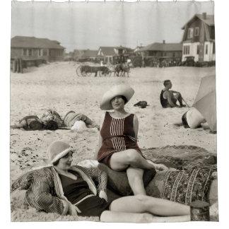 Rideaux De Douche SCÈNE VINTAGE de PLAGE - les années 1920