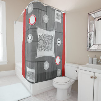 Rideaux De Douche showercurtain blanc rouge gris