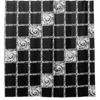 Rideaux De Douche vérifiez le blanc noir de motif