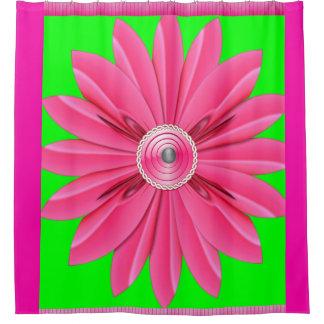 Rideaux De Douche vert rose de showercurtain de fleur