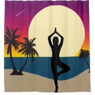 Rideaux De Douche Yoga au coucher du soleil