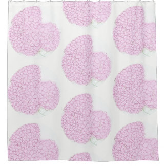 Rideaux en douche roses lumineux d'hortensia