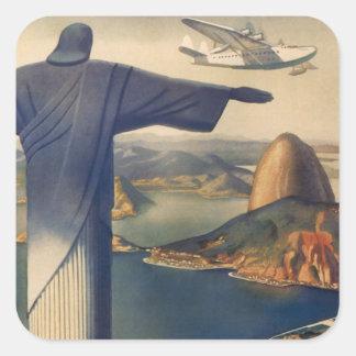 Rio de Janeiro vintage, le Christ la statue de réd Autocollant Carré