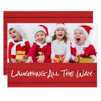 Rire complètement le carte photo de Noël