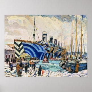 RMS Olympisch in Dazzle poster van de Camouflage