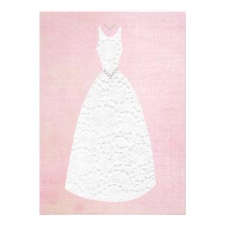 Robe de mariage blanche rose vintage de douche nup cartons d'invitation personnalisés