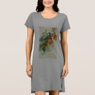 robe florale verte de pièce en t