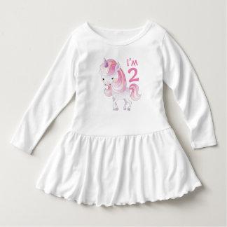 Robe Manches Longues Licorne rose mignonne avec l'âge de l'enfant