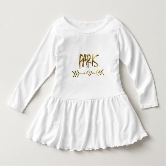 Robe Manches Longues Typographie de regard d'or de la France d'amour de