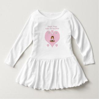 Robe Manches Longues Vêtement pour enfant adorable avec coeur rose