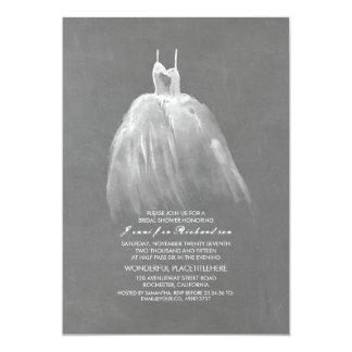 Robe vintage élégante de douche nuptiale de carton d'invitation  12,7 cm x 17,78 cm