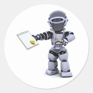 Robot avec des autocollants d'un porte - bloc