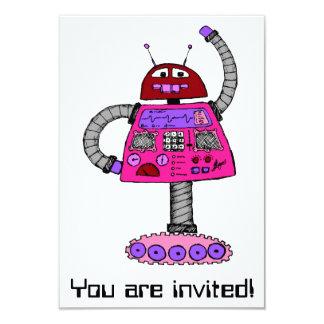 Robot de Frankie : Rose sur le blanc Carton D'invitation 8,89 Cm X 12,70 Cm