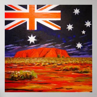 Roche d'Ayers et drapeau australien Poster