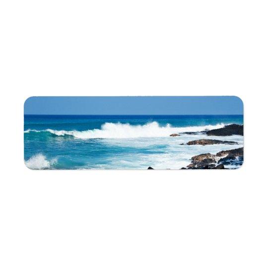 Roche de lave et océan hawaïens de corail - Hawaï Étiquette D'adresse Retour