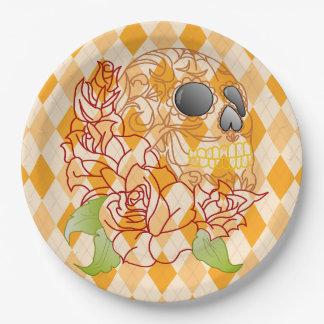 Rockabilly à motifs de losanges jaune de crâne de assiettes en papier
