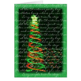 Rockin autour de la carte d'arbre de Noël