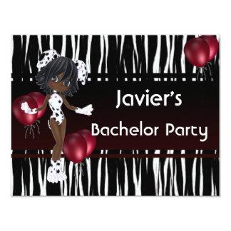 Rode Ballons van het Meisje van de Partij van de 10,8x13,9 Uitnodiging Kaart