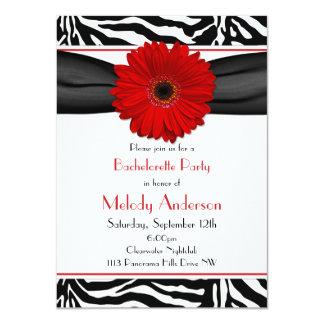 Rode Gerber Daisy Zebra Print Bachelorette Party Kaart