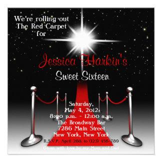 Rode Verjaardag 16 van Hollywood van het Tapijt Zo Uitnodigingen