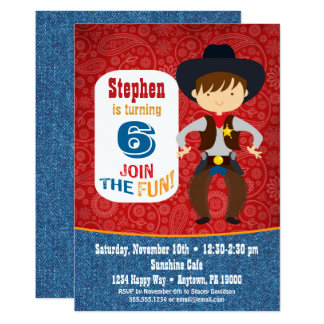 Rodéo de garçon d'invitation d'anniversaire de carton d'invitation  12,7 cm x 17,78 cm