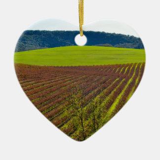 Rolling Hills et vignobles Ornement Cœur En Céramique