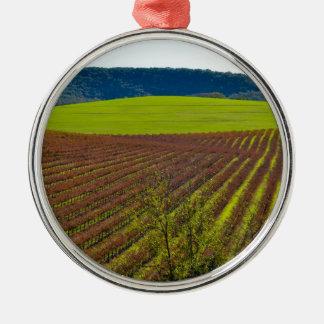 Rolling Hills et vignobles Ornement Rond Argenté
