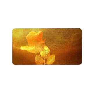 Romantique brillant de papier d'encre d'or imprimé étiquette d'adresse