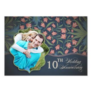 romantische 10de huwelijksverjaardag bloemen uitnodigingen
