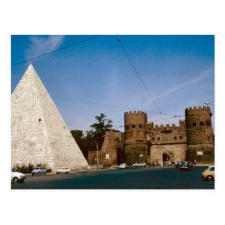 Rome, pyramide et porte de ville carte postale