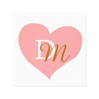 rose-amour-coeur décoré d'un monogramme toiles