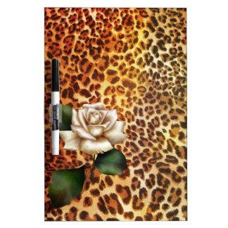 Rose blanc de léopard sauvage de poster de animal tableau effaçable à sec