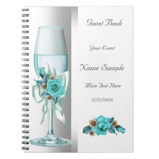 Rose blanc turquoise de beige de livre d'invité carnets à spirale