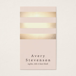 Rose-clair moderne rayé de feuille d'or élégante cartes de visite