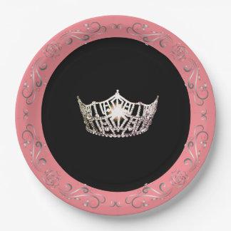 """Rose-Corail 9"""" de style de Mlle Amérique plaques à Assiettes En Papier"""
